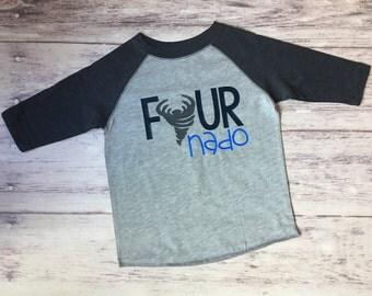 Fourth birthday shirt, 4th birthday shirt, Fournado, birthday shirt, birthday shirt, boys birthday shirt, birthday party shirt