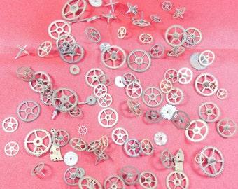 100  Vintage Steampunk Watch Gears Wheels Parts Altered Art #-1