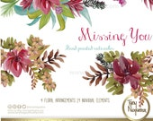 Missing You, Wedding flowers, Invitations, Cards, Quotes, watercolor clipart PNG, Bridal shower, floral wreath, arrangements, artistic