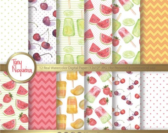 Watercolor Ice Pop, Popsicle, Organic, fruits, strawberry, cherries, mango, limes, hand painted, Digital paper,  freeze pop, fresh