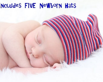 FIVE Newborn Boy Hospital Hats- Includes FIVE Baby Beanies & 2 Pairs of Mittens. (baby boy, baby hospital hat, newborn hat, baby boy hat)
