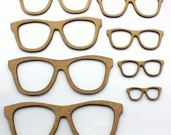 Geek Glasses / Sunglasses Craft Shapes, 2mm MDF Wooden Embellishments (10 Pack)