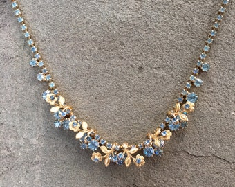 Blue rhinestone gold floral design necklace