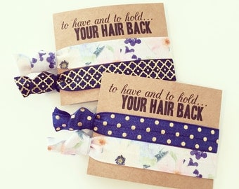 Navy Blue Floral Hair Tie Favors   Boho Bachelorette Hair Tie Favors, Bridesmaid Gift Hair Ties, Navy Blue Gold Floral Tribal Hair Tie Sets