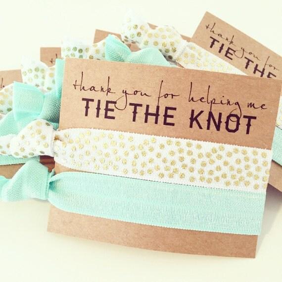 Hair Tie Bridesmaid Gift | White + Gold Confetti Hair Ties, Seafoam Mint Bridesmaid Gift Hair Ties, Wedding Bridal Shower Hair Tie Favor