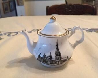 "Vintage Estate Ministure Bone China Teapot Salisbury Cathedral! 3"" H x 2"" W!"