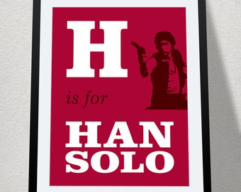 H is for Han Solo, Digital Printable, Baby Geek Nursery, Star Wars Alphabet