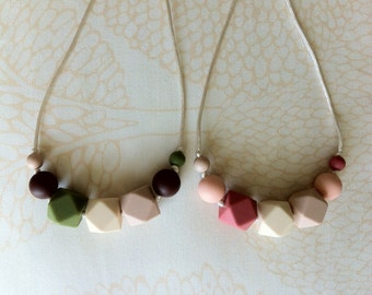 Geometric silicone teething necklace and nursing necklace