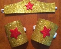 Wonder Woman Tiara Crown Halloween Wrist Cuffs Glitter Star Gold Red