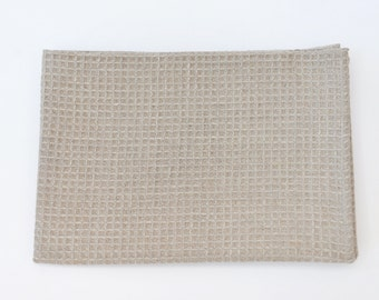Linen Waffle Large Bath Towel in Natural