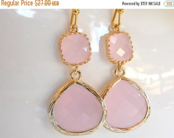 SALE Wedding Jewelry , Ice Pink Earrings, Gold, Pink, Soft Pink, Pale Pink, Bridesmaid Gifts, Bridesmaid Jewelry, Dangle, Drop, Wedding Gift