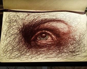 Eye scribble drawing