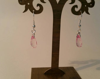 Pink swarovski drop earrings
