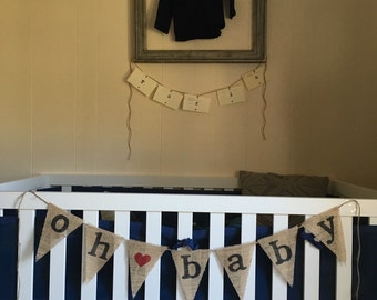"""Lovely, Handmade Burplap """"Oh Baby"""" Heart Banner! Maternity shoot, maternity photos, baby shower, typewriter text, vintage style!"""