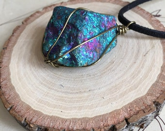 Peacock Ore Necklace - Raw Stone Necklace - Stone Necklace - Peacock Ore - Healing Necklace - Crystal Necklace - Bornite