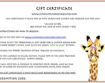 Gift Certificate for a Custom Design and 25 Note Cards