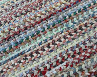Multicolored Twined Rag Rug