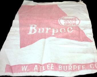 Vintage Burpee Feed Sack,White And Red Burpee