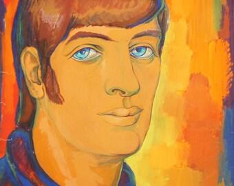 Vintage Modernist Man Portrait Gouache Painting