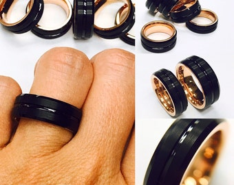 Mens Tungsten Ring, Rose Gold Ring, Black Tungsten, His Promise Ring, Engagement Ring, Men's Tungsten Wedding Band, Tungsten Band, Mens Ring
