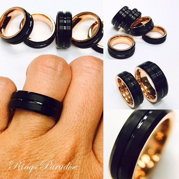 Mens Tungsten Ring Rose Gold Ring Black Tungsten His