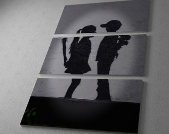 "Banksy Girl Meets Boy Gallery Wrapped Canvas Triptych Print 48"" x 30"""