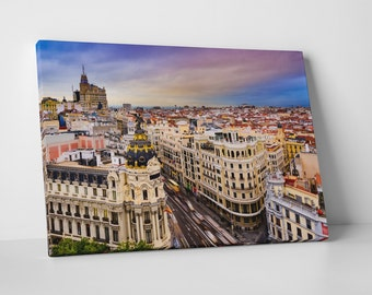 Madrid Spain Downtown Skyline Gallery Wrapped Canvas Print