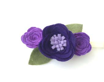 Felt flower headband - purple flower - felt flower - Regal Accessory headband