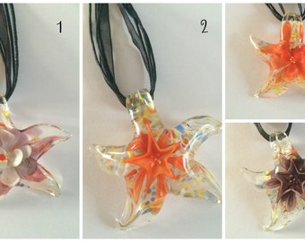 Gorgeous Lampwork Murano Style Glass Star Flower Pendant Necklace