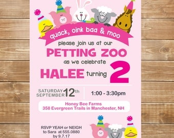Petting Zoo Birthday Invitation, Petting Zoo Party, Farm Party Invite, DIY, Printable, Girls Zoo Party Invite