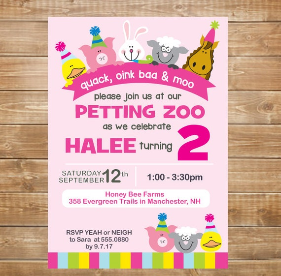 Petting Zoo Birthday Invitation Petting Zoo Party Farm Party
