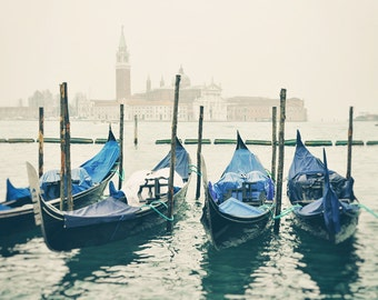 Venice Gondola Boats, Venice Wall Art, Italy Print, Venice Italy Photography Print, Travel Photo, Europe Decor, Cream, Blue