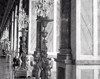 Versailles, Paris Photography, Cherubs, Romantic Wall Art, Hall of Mirrors, Paris Decor, Black and White, Europe Palace, Travel Print