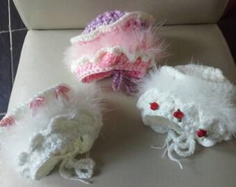 Baby  girl bonnet, crochet baby bonnet, newborn girl bonnet, baby girl hat, ready to ship