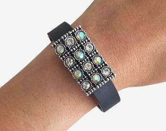 Charm to Accessorize Fitbit Flex, Flex 2, Charge 2 or Jawbone Up -The TAYLOR Silver Rhinestone Charm to Enhance and Protect Your Tracker