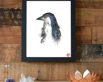 Learning To Speak, Spirit Animal Raven Woman Giclee Fine Art Print