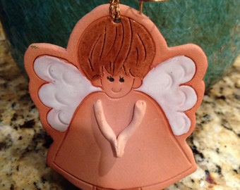 Angel Bell Ornament Angel Christmas Ornament Angel Bell Christmas Ornament Handcrafted ornament rustic ornament stoneware ornament religious