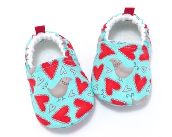 Heart Baby Shoes, Soft Sole Baby Shoes, Baby Booties, Baby Shower Gift, Red Toddler slippers, Aqua baby shoes, Bird baby shoes, baby girl