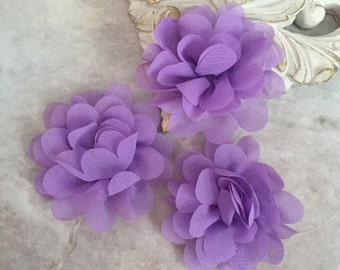 MINI lavender chiffon flower, chiffon flower, flower puff, material flower, headband flower, DIY supplies, fabric flower,
