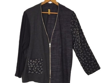 Meg STALEY GRETZINGER Art to wear zipper cardigan