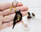 30 SALE OFF - Bird necklace - Black bird - Black jewelry - Animal necklace - Raven - Gear jewelry - Watch parts jewelry