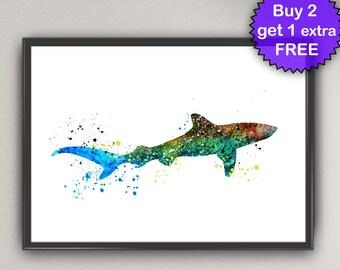 SHARK Watercolor Art Prints shark Sea Life Ink Painting Underwater illustrations Art Print Wall Poster Giclée Decor Art Home (Nº2)