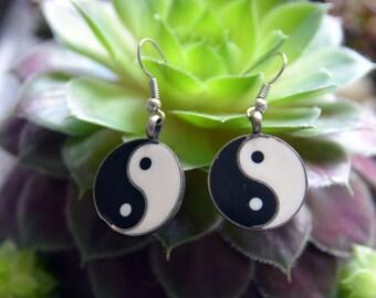 Simple recycle Ying Yang Peace Yoga handmade metal earrings.