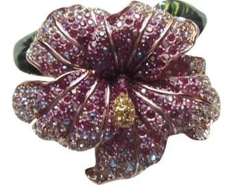 Fabulous Joan Rivers Rhinestone Hibicus Brooch/Pin Vintage 1990 Joan Rivers Jewelry