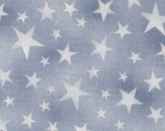 Hoffman Fabrics Celestials Silver Blue Metallic Stars 100% Cotton Fabric Yardage OOP out of print