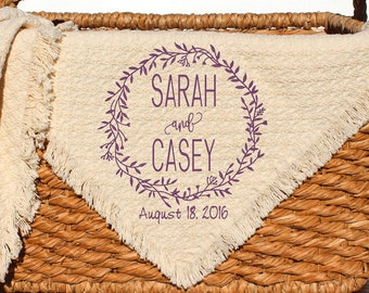 Personalized Wedding Throws and Blankets | Custom Embroidered Monogrammed | Wedding Gift | Unique Bridal Shower Gift | Anniversary Gift