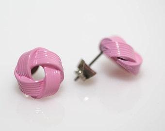 Pink Love Knot Earrings