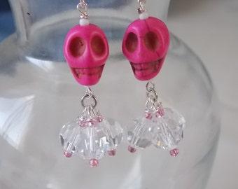 Pink Skull Earrings Pink Howlite Skull Earrings E62