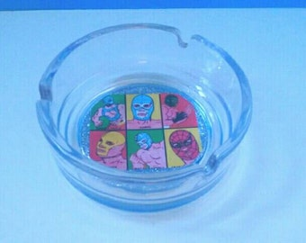 Mexican Wrestling Glass Ashtray, Lucha Libre Ashtray, Glass Ashtray, Smoke Accessory, Wrestler Ashtray, Made By Mod.