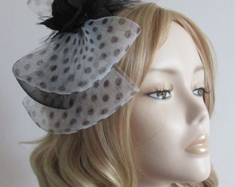 POLKA DOT FASCINATOR, Triple bows,with Black Crin,  Organza ribbon flower, on Black headband